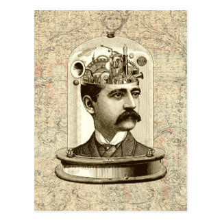 Carte Postale Cerveau frais de rouages de Steampunk, tête dans