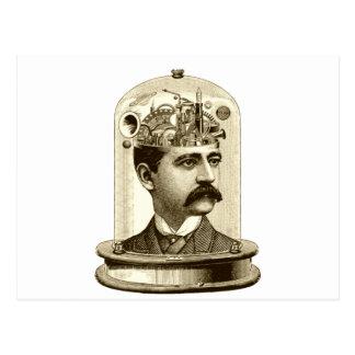 Carte Postale Cerveau vintage de rouages de steampunk, homme de