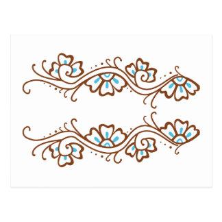 Carte Postale Chaîne de fleur de henné