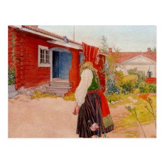 Carte Postale Chambre dans Falun avec la fille