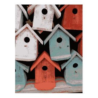 Carte Postale Chambres vintages décoratives bleues blanches