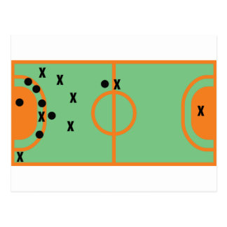 Carte Postale champ de handball avec l'icône de joueurs