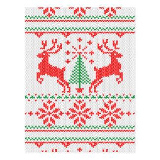 Carte Postale Chandail laid de Knit blanc de classique bonnes