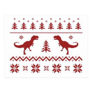 Carte Postale Chandail laid de Noël de dinosaure de T-Rex