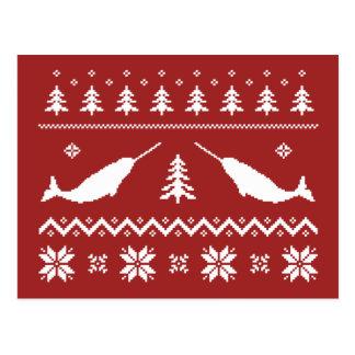 Carte Postale Chandail laid de Noël de Narwhal