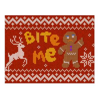 Carte Postale Chandail laid de Noël : Mordez-moi bonhomme en