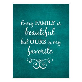 Carte Postale Chaque famille est belle citation