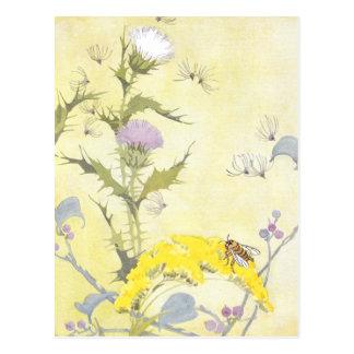 Carte Postale Chardon et abeille sur l'or