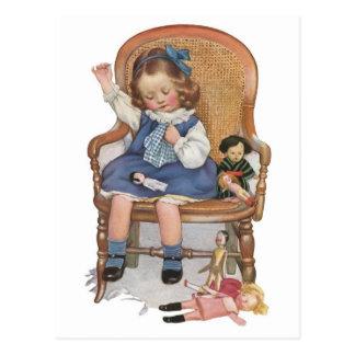 Carte Postale Chariots de couture de fille