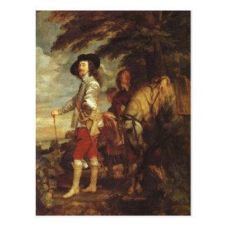 Carte Postale Charles I, roi d'Angleterre à la chasse par Van