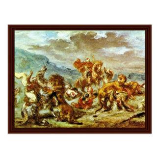 Carte Postale Chasse à lion par Eugène Ferdinand Victor
