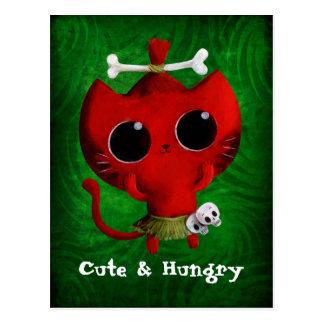 Carte Postale Chat adorable de Halloween de cannibale