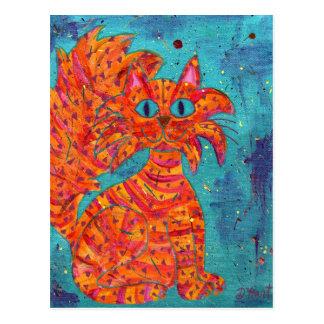 Carte Postale Chat ardent sur la turquoise