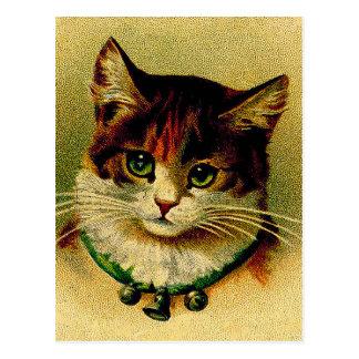 Carte Postale Chat aux yeux verts vintage avec des tintements du
