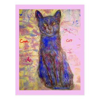 Carte Postale chat bleu frais de zen