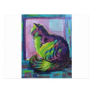 Carte Postale Chat coloré