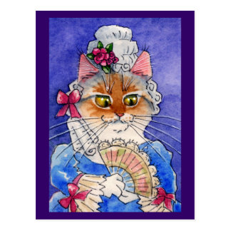 Carte Postale Chat comme Reine Marie Antoinette