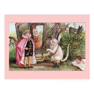 Carte Postale Chat dans Carriage de bottes et du Roi