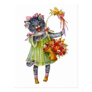 Carte Postale Chat d'Arthur Theile Kitty avec le panier de fleur