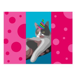 Carte Postale Chat de calicot drôle d'anniversaire avec le