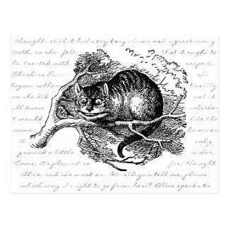 Carte Postale Chat de Cheshire - nous sommes tous fous ici