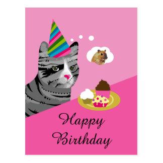 Carte Postale Chat de joyeux anniversaire avec des petits