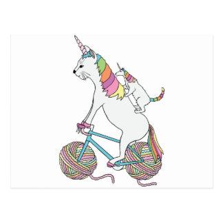 Carte Postale Chat de licorne d'équitation de licorne de chat