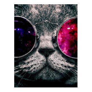 Carte Postale chat de lunettes de soleil