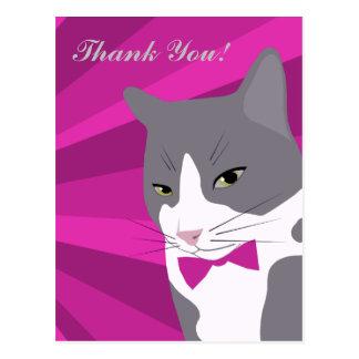 Carte Postale Chat de Merci avec cravate d'arc rose/pourpre