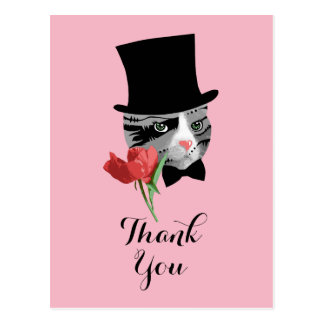 Carte Postale Chat de Merci avec la fleur