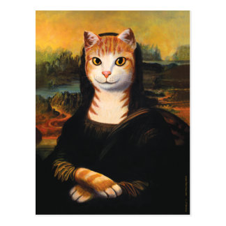 Carte Postale Chat de Mona Lisa