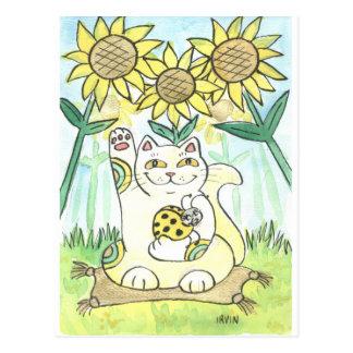 Carte Postale Chat de Neko avec la coccinelle chanceuse : Mme