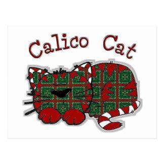 Carte Postale Chat de Noël de calicot