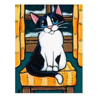 Carte Postale Chat de smoking à la peinture de fenêtre de Milou