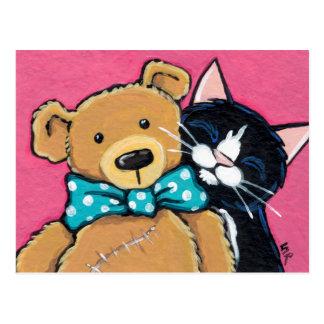 Carte Postale Chat de smoking et ours de nounours avec la