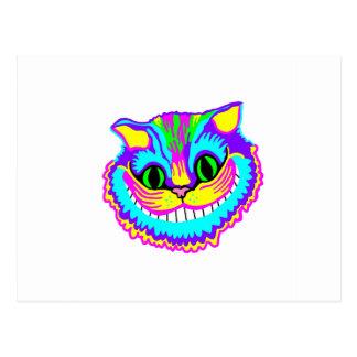 Carte Postale Chat de sourire fou psychédélique