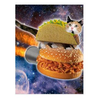Carte Postale chat de taco et hamburger de fusée dans l'univers