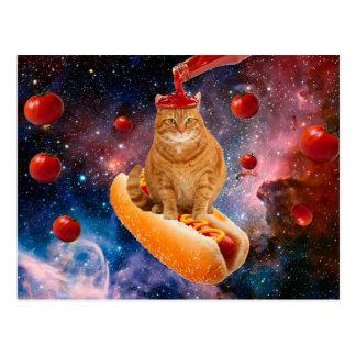 Carte Postale Chat de tomate - chat de hot-dog - catchup -