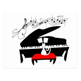 Carte Postale Chat et piano