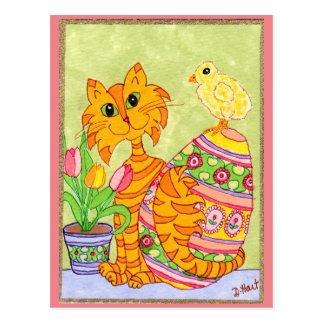 Carte Postale Chat et poussin avec l'art populaire Pâques