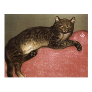 Carte Postale Chat étiré sur le sofa - par Theophile Steinlen