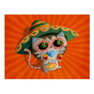Carte Postale Chat mexicain avec le sombrero