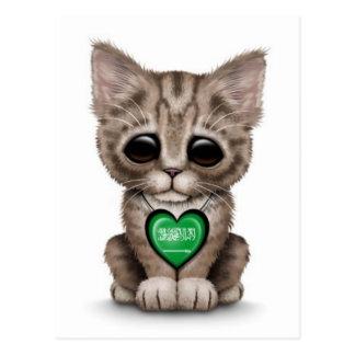 Carte Postale Chat mignon de chaton avec le coeur saoudien,