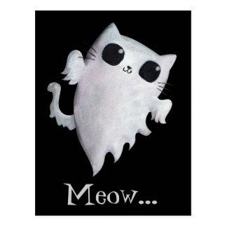 Carte Postale Chat mignon de fantôme de Halloween