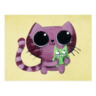 Carte Postale Chat mignon de Kitty avec le petit monstre vert