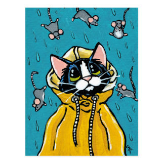 Carte Postale Chat mignon de smoking et pleuvoir l'illustration