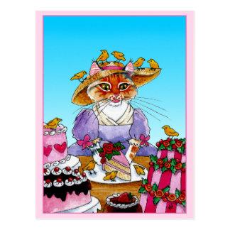 Carte Postale Chat mignon, oiseau, gâteau d'anniversaire