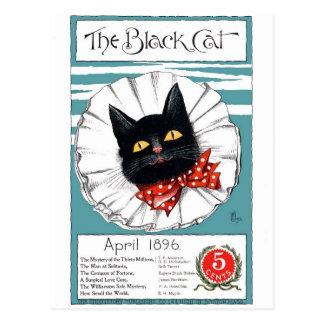 Carte Postale Chat noir dans la cravate rouge de point de polka