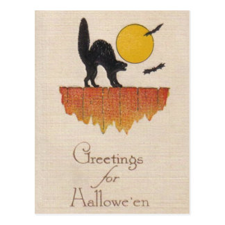 Carte Postale Chat noir vintage, cri strident, Halloween