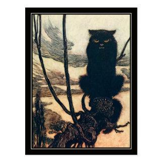 Carte Postale Chat noir vintage de Halloween Arthur Rackham